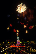 July 03, 1986, New york City - NY: Statue of Liberty night view with fire crackers during the Liberty Weekend. Liberty weekend was the celebration of the restoration and centenary of the Statue of Liberty.