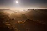 On May 20th, 2012, an annular solar eclipse occured and was visible from the Grand Canyon. The eclipse lasted a total of 4 minutes and 30 seconds, during which time the landscape was gently bathed in an eerie light with a subdued color palette...An annular solar eclipse occurs when the Moon passes between the Earth and the Sun, but the Moon's apparent diameter is smaller than that of the sun.