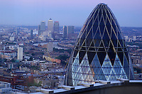30 St. Mary Axe Building, view from Vertigo 42, City, London, Great Britain, UK