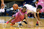 04 February 2016: Virginia's Breyana Mason (12) and Duke's Crystal Primm (13). The Duke University Blue Devils hosted the University of Virginia Cavaliers at Cameron Indoor Stadium in Durham, North Carolina in a 2015-16 NCAA Division I Women's Basketball game. Both teams wore pink as part of the annual Play4Kay game in support of the Kay Yow Cancer Fund. Duke won the game 67-52.