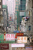 Looking along Wellington Street in Hong Kong's Mid-Levels, from the escalator which passes over it; streets like this are fast disappearing in Hong Kong