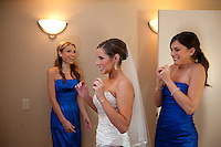 A bride gets ready for her wedding at the Church of the Nativity, Menlo Park, CA.