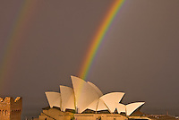Rainbow after a storm on Sydney Opera House in Australia