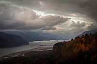 Storm Clouds clear over Vista House and the Columbia River Gorge. Photo by Rob Sumner / Red Box Pictures