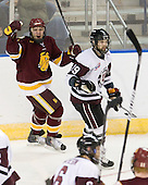 Kyle Schmidt (Duluth - 7), Kelly Zajac (Union - 19) - The University of Minnesota-Duluth Bulldogs defeated the Union College Dutchmen 2-0 in their NCAA East Regional Semi-Final on Friday, March 25, 2011, at Webster Bank Arena at Harbor Yard in Bridgeport, Connecticut.