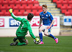 St Johnstone Academy v Manchester Utd Academy&hellip;.06.05.16  McDiarmid Park, Perth<br />Euan O&rsquo;Reilly is denied by keeper Harry Allen<br />Picture by Graeme Hart.<br />Copyright Perthshire Picture Agency<br />Tel: 01738 623350  Mobile: 07990 594431