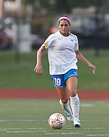 Boston Breakers defender Bianca D'Agostino (19) at midfield. In a Women's Premier Soccer League Elite (WPSL) match, the Boston Breakers defeated New England Mutiny, 4-2, at Dilboy Stadium on June 20, 2012.
