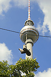 Sneakers on wire with Berlin TV Tower