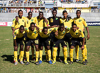 Jamaica lines up during the quarterfinals of the CONCACAF Men's Under 17 Championship at Catherine Hall Stadium in Montego Bay, Jamaica. Jamaica defeated Honduras, 2-1.