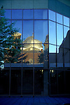 The 6th & I Synagogue is reflected in the windows of the old Washington, DC Convention Center