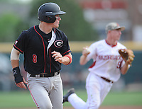NWA Democrat-Gazette/ANDY SHUPE<br />Arkansas shortstop Jax Biggers (right) prepares to throw to the plate as Georgia catcher Austin Biggar runs to third Saturday, April 15, 2017, after Biggar attempted to advance to third which was occupied during the fourth inning at Baum Stadium in Fayetteville. Visit nwadg.com/photos to see more photographs from the game.