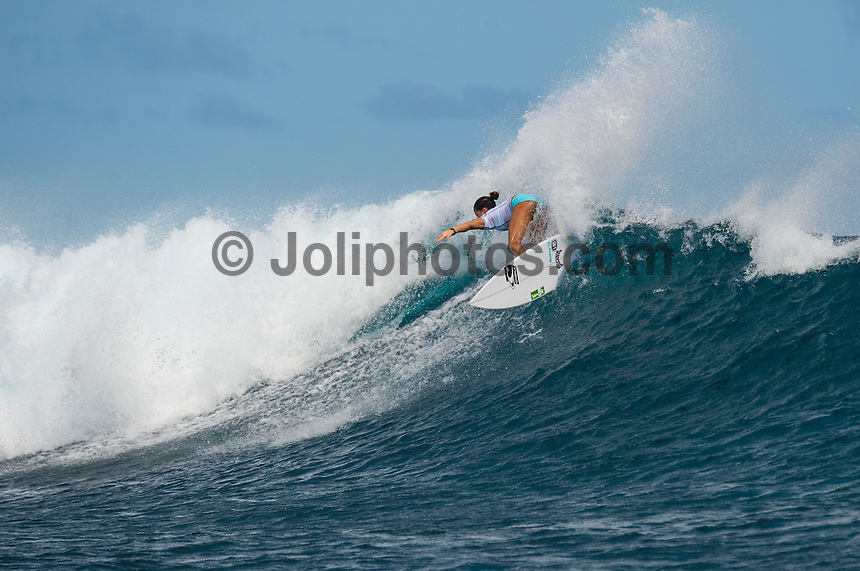 Namotu Island Resort, Namotu, Fiji. (Tuesday May 27, 2014) Malia Manuel (HAW) –  The Fiji Women's Pro, Stop No. 5 of 10 on the 2014  Women's World Championship Tour (WCT) was called on today  at Cloudbreak in a ring 4'-6' south swell.  The South East Trades, which are side offshore at Cloudbreak increased with the growing swell and made conditions difficult by mid afternoon. All of Rounds 1 & 2 were completed with Malia Manual (HAW) registering the day's highest score with powerful forehand surfing. The event has attracted the world's best female surfers to the world-class waves of Cloudbreak and Restaurants for the recommencement of this season's battle for the world surfing crown. Photo: joliphotos.com