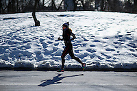 A woman jokes inside central park during low temperatures in New York. 16.02.2015. Eduardo Munoz Alvarez/VIEWpress.