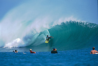 1996 Quiksilver Pro, Grajagan, East Java. Indonesia <br /> Kelly Slater (USA) surfing a heat in the Quiksilver Pro. The 1996 Quisksilver Pro  held in the waves of  Grajagan, better known as G-Land, on the coastline of a nature reserve on the southern-most tip of east Java was won by Shane Beschen (USA) with Gary 'Kong' Elkerton (AUS) in second place.  It was the second Quiksilver Pro, G-Land, that set the true concept of the ASP &lsquo;Dream Tour&rsquo; in motion. The late 80s and early 90s saw a growth in events based close to metropolitan areas, but the Quiksilver Pro, G-Land took a step away from that. Its emphasis was on quality waves, rather than quality crowds. Surfer Magazine calls Quiksilver's G-Land Java Pro &ldquo;The greatest ASP contest ever . . .&rdquo;. Surfing Magazine says, &ldquo;More than a contest, more than a surf trip, the Quiksilver Pro redefined professional surfing . . .&rdquo; Witness a select group of the worlds greatest surfers in some of the best contest waves ever ridden.&quot; Photo: joliphotos.com