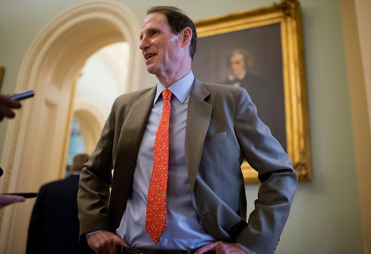 UNITED STATES - JULY 31:  Sen. Ron Wyden, D-Ore., talks with reporters before senate luncheons in the Capitol.  (Photo By Tom Williams/CQ Roll Call)