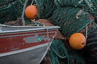 Boat with Nets and Buoys, Kodiak Island, Alaska, US