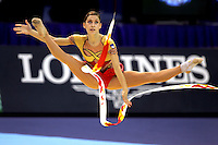 Mojca Rode of Slovenia straddle leaps with ribbon team competition in rhythmic gymnastics at World Championships Baku, Azerbaijan, October 5, 2005.  (Photo by Tom Theobald)