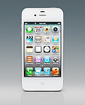 White iPhone 4s smartphone isolated on gradient blue gray background with clipping path