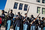Civil War reenactors with the 54th Massachusetts Volunteer Infantry Company A rehearse before marching in the inaugural parade on Sunday, January 20, 2013 in Washington, DC.