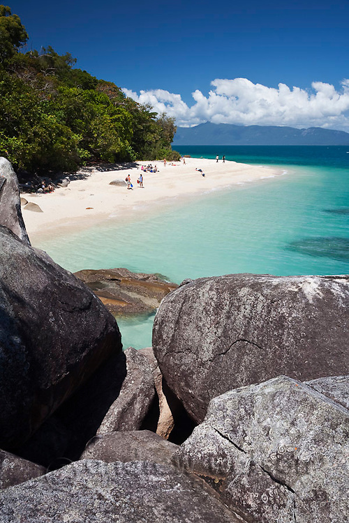 White sand and clear waters of Nudey Beach.  Fitzroy Island National Park, Cairns, Queensland, Austtralia