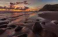 The sun rises over Pololu Valley, North Kohala, Big Island of Hawai'i.
