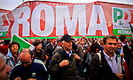 ITALY, ROME, November 5, 2011..Italy demonstrators of the Centre-left party (Democratic Party) takes part in a rally against the government of Italian Prime Minister Silvio Berlusconi in Rome November 5 , 2011. VIEWpress /Eduardo Munoz Alvarez..Italy's P.M. Berlusconi resigned on Saturday after new budget law is approved in parliament. The approval of the package will mark the final of the Berlusconi government..Local Media Report