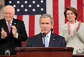 U.S. President George W. Bush delivers his annual State of the Union address to a joint session of Congress at the U.S. Capitol in Washington, January 23, 2007. REUTERS/Larry Downing  (UNITED STATES)