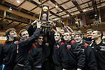 12 MAR 2011: Members of the University of Nebraska-Omaha wrestling team hoist their championship trophy during the Division II Men's Wrestling Championship held at the UNK Health and Sports Center on the University of Nebraska - Kearney campus in Kearney, NE.  Corbey R. Dorsey/ NCAA Photos