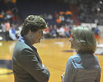 "Ole Miss coach Renee Ladner (right) and Tennessee cach Pat Summitt at C.M. ""Tad"" Smith Coliseum in Oxford, Miss. on Thursday, February 24, 2011.  Tennessee won 66-39 with 5:24 remaining after officials ended the game due to a wet court.."
