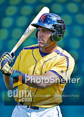 8 July 2012: State College Spikes infielder Samuel Gonzalez awaits his turn in the batting cage prior to a game against the Vermont Lake Monsters at Centennial Field in Burlington, Vermont. The Lake Monsters rallied from a 2-0 late inning deficit, to defeat the Spikes 8-2 in NY Penn League action. Mandatory Credit: Ed Wolfstein Photo
