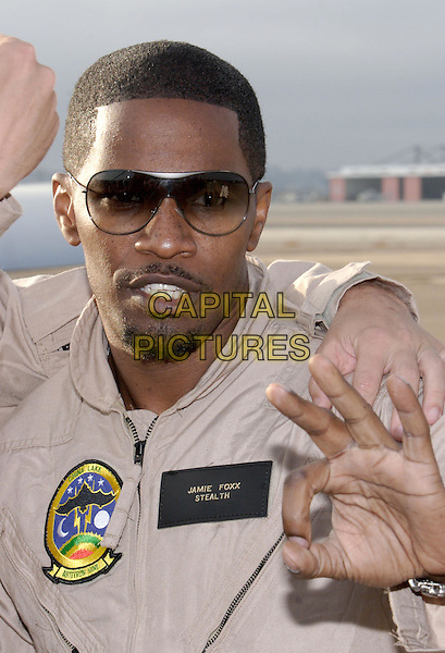 """JAMIE FOXX.World Premiere of Columbia Pictures """"Stealth"""".July 17th, 2005.headshot portrait sunglasses shades goatee mustache facial hair hand gesture.www.capitalpictures.com.sales@capitalpictures.com.© Capital Pictures."""