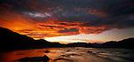 Sunset on clouds, Upper Rakaia  River. Canterbury Region. New Zealand.