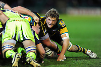 Jamie Gibson of Northampton Saints in action at a scrum. Aviva Premiership match, between Northampton Saints and Sale Sharks on December 23, 2016 at Franklin's Gardens in Northampton, England. Photo by: Patrick Khachfe / JMP