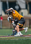 16 April 2016: University of Maryland, Baltimore County Retriever Defender Jason Brewster, a Freshman from San Diego, CA, battles for possession during a game against the University of Vermont Catamounts at Virtue Field in Burlington, Vermont. The Retrievers fell to the Catamounts 14-10 in NCAA Division I play. Mandatory Credit: Ed Wolfstein Photo *** RAW (NEF) Image File Available ***