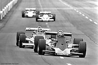 HAMPTON, GA - APRIL 22: Lee Kunzman (#21) drives his Parnelli VPJ16C/Cosworth TC ahead of Johnny Rutherford during the Gould Twin Dixie 125 event on April 22, 1979, at Atlanta International Raceway near Hampton, Georgia.