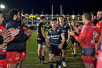 George Ford of Bath Rugby leads his team off the field after the match. European Rugby Champions Cup match, between Bath Rugby and RC Toulon on January 23, 2016 at the Recreation Ground in Bath, England. Photo by: Patrick Khachfe / Onside Images