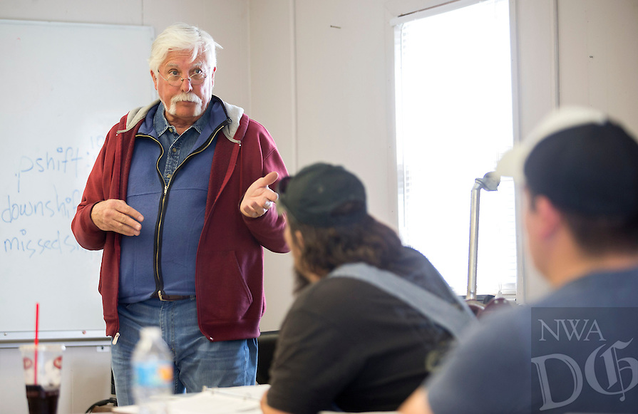 NWA Democrat-Gazette/JASON IVESTER<br /> Doug Carter, instructor, talks with his class Wednesday, March 1, 2017, during the CDL class at Northwest Technical Institute in Springdale.