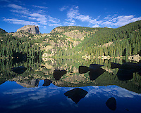 Hallet Peak and Flattop Mountain reflected in Bear Lake, Rocky Mountain National Park, Colorado, USA.