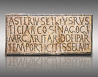 6th century Inscription of the great hall of the synagogue of Nam-Ham-mam-Lif in the Roman province of Africa Proconsularis, present day Tunisia. The mosaic floor of the vestibule (porticus) was an offering from Asterius son of Rusticus, the Head of the Jewish community who was working in the Naro jewellers trade. The mosaic reads in Latin  &quot;Asterius, filius Rustici, arcosinagogi, margaritari, (de d(onis) dei partemporticites-selavit&quot;.  The Bardo National Museum, Tunis Tunisia.   Against a grey background.<br /> <br /> The so called synagogue of Naro (Hammam-Lif, Tunisia), discovered in 1883, is a square buil-ding (20 by 20 m), consisting of several rooms and hallways communicating with an inner courtyard. The plan is inspired by traditional domestic architecture of Roman Africa. The room, dedicated to religious ceremonies, was paved with a magnificent mosaic of several figured panels with an iconography highlighting Judaeo-Christian concepts, attesting a proselyte attitude addressing a local Judaic community, who was very active between the late fifth c. and the early sixth century AD.