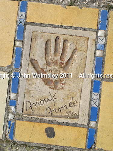 Hand print of the film star, Anouk Aimee, outside the Palais des Festivals et des Congres, Cannes, France.