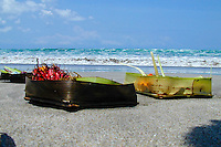 Bali, Badung, Kuta. Kuta Beach, small offerings to the gods.