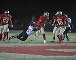 Lafayette High's Demarkous Dennis (5) runs vs. Leake Central in playoff high school football action in Oxford, Miss. on Friday, November 4, 2011. Lafayette won 46-7.