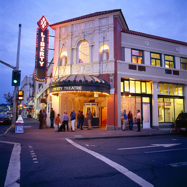 The historic Liberty Theater in downtown Astoria, Oregon.  Originally opened in 1925, the theater now operates as a performing arts center, and concert hall.
