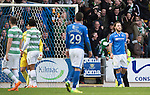 St Johnstone v Celtic...07.05.14    SPFL<br /> Stevie May reacts after missing a penalty<br /> Picture by Graeme Hart.<br /> Copyright Perthshire Picture Agency<br /> Tel: 01738 623350  Mobile: 07990 594431