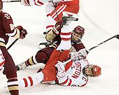 Patch Alber (BC - 27), Joe Pereira (BU - 6) - The visiting Boston College Eagles defeated the Boston University Terriers 3-2 to sweep their Hockey East series on Friday, January 21, 2011, at Agganis Arena in Boston, Massachusetts.