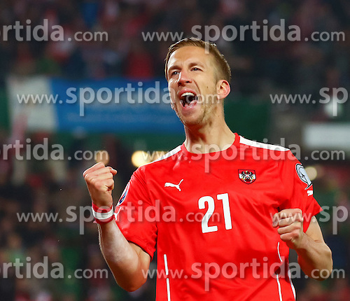 12.10.2015, Ernst Happel Stadion, Wien, AUT, UEFA Euro 2016 Qualifikation, Österreich vs Liechtenstein, Gruppe G, im Bild Marc Janko (AUT) jubelt über das Tor zum 2:0 // the UEFA EURO 2016 qualifier group G match between Austria and Liechtenstein at the Ernst Happel Stadion, Vienna, Austria on 2015/10/12. EXPA Pictures © 2015 PhotoCredit: EXPA/ Sebastian Pucher