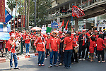 Bangkok, Jan 23: United Front for Democracy against Dictatorship (UDD) Red Shirt protestors rally at Ratchapraong intersection in central Bangkok before marching to Democracy Monument. Red Shirt leaders vowed to rally two times each month to commemorate the military crackdowns on protestors last year. Bangkok, January 23, 2010.