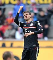 FUSSBALL   1. BUNDESLIGA  SAISON 2011/2012   34. Spieltag 1. FC Koeln - FC Bayern Muenchen        05.05.2012 Jubel nach dem Tor zum 0:1 Thomas Mueller (FC Bayern Muenchen)