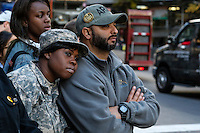 Military members watch the annual Veterans Day parade in New York.  10.11.2014. Eduardo Munoz Alvarez/VIEWpress