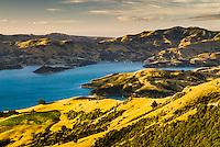 Sunset over Akaroa Harbour and township, Banks Peninsula, Canterbury, Christchurch, New Zealand, NZ